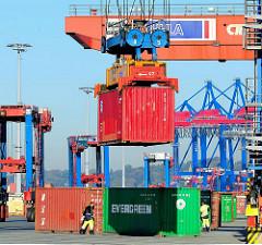 Der Container hängt im Spreader des Bahnportalkrans und wird zum Güterwaggon transportiert.