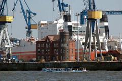 Hafenkräne und Backsteingebäude auf dem Werftgelände von Blohm + Voss-