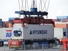 Arbeit Hamburger Hafen HHLA Containerterminal Altenwerder CTA.