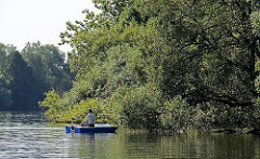 Angler im Boot in Ufernähe Tatenberger Bucht. Herabhängede Bäumäste über dem Wasser der Doveelbe.