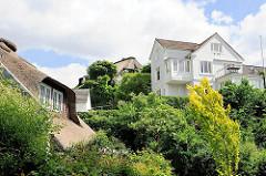 Hausdächer zwischen grünen Bäumen und Sträuchern - Wohnhäuser im Blankeneser Treppenviertel am Elbhang.