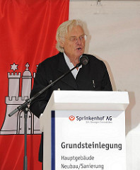 Grundsteinlegung Hauptgebäude TUHH - Prof. Meinhard Gerkan - Hamburger Architekturbüro von Gerkan, Marg und Partner.