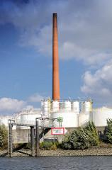 Industriearchitektur im Hamburger Stadtteil Wilhelmsburg - Raffinerieanlage mit Tanks und hohem Schornstein am Ufer der Süderelbe - Schild Tankhafen.