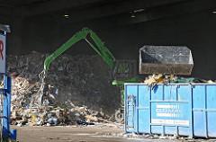 Recyclingbetrieb in der Liebigstr. Kran mit Container.