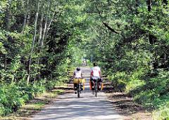 FahrradwanderInnen mit hoch bepackten Fahrrädern fahren auf einer der Betonpisten durch das Hamburger Naturzschutzgebiet Höltingbaum. Links und rechts des Weges stehen Bäume, die Strasse ist schnurgerade.