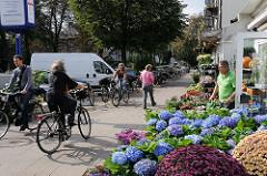 Blumenladen mit Hortensien und FahradfahrerIn in der Bismarckstrasse, Hoheluft West.