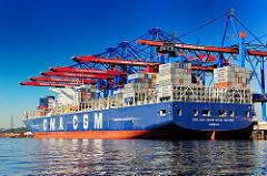 Blick über den Waltershofer Hafen zur Kaianlage des HHLA Container Terminals Burchardkai - die CMA CGM Christophe Colomb liegt unter den herunter gelassenen Containerbrücken.