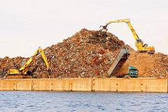 Schrott am Rosskai wartet auf den Abtransport per Schiff - ein Kipplader kippt seine Ladung Schrott auf den Kai - ein Greifbagger schichtet das Altmetall auf einen hohen Berg - Bilder aus dem Hamburger Hafen im Stadtteil Steinwerder.