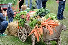 Mit Gemüse dekorierter Holzkarren auf dem Bauernmarkt in Wulksfelde - Herbstdekoration, Gemüseernte - Wurzeln / Karotten, Zwiebeln, Melonen, Salat, Radieschen und Porree.