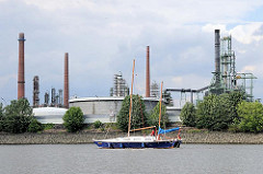 Öltanks und Schornsteine in Hamburg Wilhelmsburg am Ufer der Süderelbe. Auf dem Arm der Elbe fährt ein Katamaran Richtung Unterelbe.