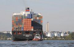 Heck vom Containerfrachter mit Schlepper auf dem Koehlbrand vor Hamburg Steinwerder - Faultürme der Klärwerke im Hintergrund.