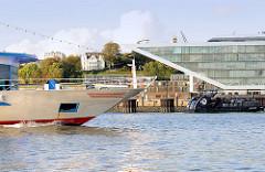 Schiffsbug eines Fahrgastschiffs auf der Elbe vor Hamburg Altona - am Elbufer das Bürogebäude Dockland.