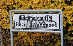 Schild Stadtteil Hummelsbüttel , Bezirk Wandsbek.