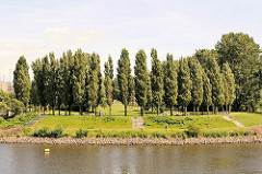 Eines der Zollhafenbecken von Hafenwerder wurde zugeschüttet und der Elbpark wurde darauf gestaltet. Fotos aus dem Hamburger Stadtteil Rothenburgsort.