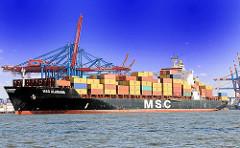 Das Containerschiff MSC Alabama hat vom Kai des Hamburger Eurogate Terminals abgelegt.