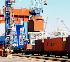 Der Container wird auf den Waggon des Güterzugs heruntergelassen - Bilder vom HHLA Container Terminal Burchardkai.