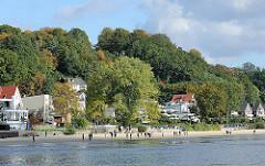Strand an der Elbe bei Hamburg Blankenese - Sonntagsspaziergang an der Elbe - Wohnhäuser am Elbufer.