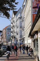 Mehrstöckige Wohngebäude, Geschäfte - Gaertnerstr. Stadtteil Hoheluft West.