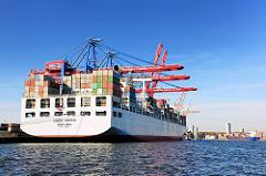 Das Containerschiff COSCO PACIFIC am Europakai des Container Terminals Tollerort.