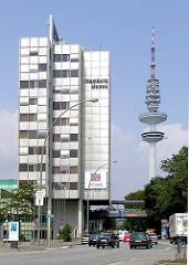 Ehem. Verwaltunggebäude der Hamburg Messe, abgerissen 2012 - re. der Fernsehturm - Fotos aus dem Hamburger Stadtteil St. Pauli.