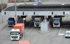 Hamburger Hafen Containertransport mit LKW.
