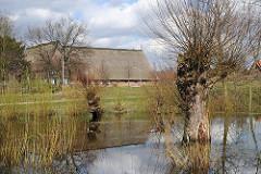 Röperhof - Historisches Gebäude - Reetdachhaus - erbaut 1779; Teich mit Weiden. Befindet sich oberhalb des Elbtunnels.