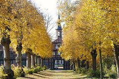 Allee mit Herbstbäumen, Linden im Herbst - Weg beim Torhaus, erbaut um 1757 - Stadtteil Hamburg Wellingsbüttel.