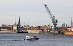 Baakenhafen (2008); ein hoher Hafenkran steht vor dem Hamburg Panorama mit den unterschiedlichen Hamburg-Türmen. Am Versmannkai liegt das Museumschiff U Boot U-434 - ein Motorboot wendet im Hafenbecken.