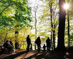 Spaziergänger im Hirschpark - die Herbstsonne scheint durch die Baumstämme.