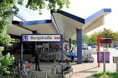 U-Bahnstation der U 2 Burgstrasse - Bahnhofsgebäude; Bilder aus dem Hamburger Stadtteil Hamm.