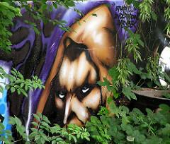 Graffiti an der Wand des ehem. Wendebeckens in Hamburg Barmbek Nord. (2004)
