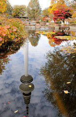 Der Hambuger Fernsehturm spiegelt sich im Wasser eines Teichs in Planten un Blomen - Herbstbäume und Sträucher mit Herbstblättern stehen in der Gartenanlage.