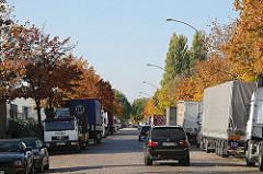 Parkende LKW Lastkraftwagen Berzeliusstrasse - Allee mit Herbstbäumen Ahorn.