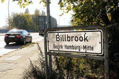Strassenschild Billbrook - Bezirk Hamburg Mitte - Grenze des Stadtteils - Stadtteilgrenze Schild.
