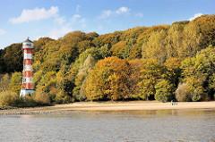 Herbst am Hamburger Elbufer - herbstlich gefärbte Bäume am Elbhang - Sandstrand / Leuchtturm in Hamburg Wittenbergen.