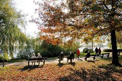 Die Herbstsonne scheint durch das Laub der Bäume am Alsterufer von Hamburg Harvestehude - Spaziergänger gehen auf dem Alsterweg - andere Besucher der Grünanlage sitzen auf den Ruhebänken am Ufer der Aussenalster.