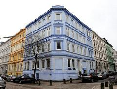 Farbige Hausfassade, historische Etagenhäuser - Bezirk Hamburg Altona, Stadtteil Altona Altstadt.