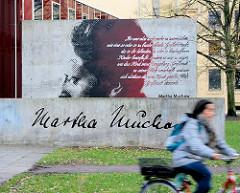 Denkmal / Erinnerungsstätte Martha Muchow auf dem Universitätsgelände Hamburg Rotherbaum.  Martha Muchow ware eine deutsche Psychologin, die sich mit der Entwicklungspsychologie des Kindes- und Jugenalters befasste.