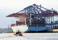 Containerschiff Maersk Eindhoven, HHLA Containter Terminal Burchardkai. Der Frachter hat eine Länge von 366m und eine Breite von 48,20m und kann 13092 TEU Standardcontainer transportieren.