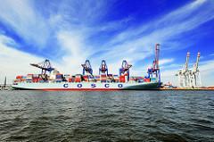 Containerfrachter  OOCL WASHINGTON im Hamburger Hafen - Conainbrücken am HHLA Terminal Tollerort.