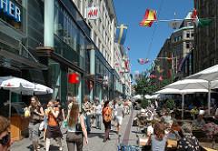 Einkaufsstrasse Hamburg Altstadt Spitalerstrasse - Strassencafe Geschäfte Passanten Blauer Himmel in Hamburg.