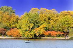 Bunt gefärbte Herbstbäume am Ufer der Binnenalster in Hamburg Altstadt - blauer Herbsthimmel; Tretboot auf der Binnenalster.