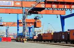 Beladung eines Güterzugs mit Containern im Hafen Hamburgs - Güterbahnhof Burchardkai - Portalkran mit Container.