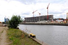 Wildkraut und Poller am Petersenkai - Blick über den Baakenhafen zur Baustelle der Hamburger Hafencity Universität am Versmannkai.