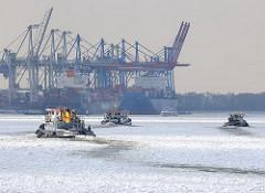 Schiffe auf der Elbe im Eis - Eisschollen auf dem Wasser der Elbe - Containerbrücken am Burchardkai im Winter.