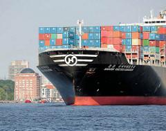 Bug vom Containerschiff Hanjin United Kingdom auf der Elbe vor Hamburg Neumühlen. Der hat eine Länge von knapp 350m und kann 9954 TEU Container transportieren.