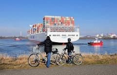 Zuschauer am Ufer des Köhlbrands beobachten das Ablegemanöver / Wendemanöver des Containerschiffs NYK HELIOS im Hamburger Hafen. Zwei Schlepper manövrieren das 365m lange Schiff in das Fahrwasser.