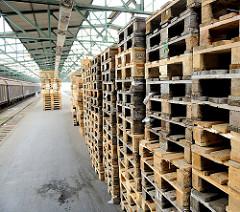 Bahnsteig mit Holzpaletten im ehem. Güterbahnhof Oberhafen der Hamburger Hafencity.