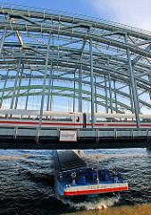 Elbbrücken über die Norderelbe - Zollgrenze; Eisenbahnzug und Binnenschiff, dass in den Freihafen Hamburgs einfährt.