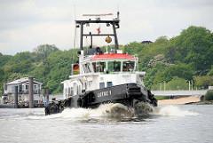Lotsenschiff LOTSE 1 in Fahrt auf der Elbe vor Hamburg Teufelsbrück.